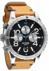 Nixon 48-20 Chrono Leather Watch<br>Natural/Black