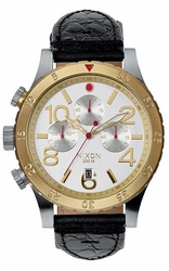 (Sale!!!) Nixon 48-20 Chrono Leather Watch<br>Silver/Gold/Black