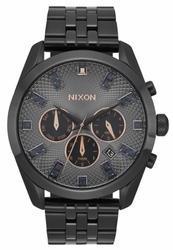 (Sale!!!) Nixon Bullet Chrono Crystal Watch<br>Black Crystal/Rose Gold