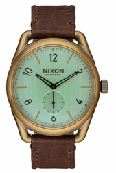 (Sale!!!) Nixon C39 Leather Watch<br>Brass/Green Crystal/Brown
