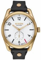 Nixon C39 Leather Watch<br>Light Gold/Black