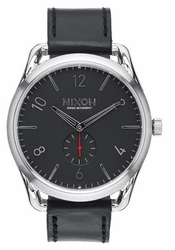 Nixon C45 Leather Watch<br>Black/Red