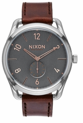 Nixon C45 Leather Watch<br>Grey/Rose Gold