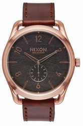 Nixon C45 Leather Watch<br>Rose Gold/Brown