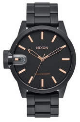 (Sale!!!) Nixon Chronicle 44 Watch<br>All Black/Rose Gold