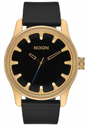 (Sale!!!) Nixon Driver Leather Watch<br>Gold/Black
