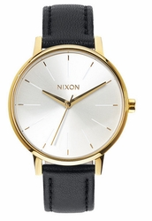 Nixon Kensington Leather Watch<br>Gold/White/Black