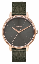 (Sale!!!) Nixon Kensington Leather Watch<br>Rose Gold/Green