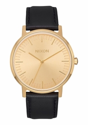 Nixon Porter Leather Watch<br>All Gold/Black