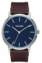 Nixon Porter Leather Watch<br>Navy/Brown