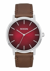Nixon Porter Leather Watch<br>Oxblood Ombre/Taupe