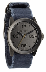 (SALE!!!) Nixon Private Watch<br>Gunmetal/Navy Frayed