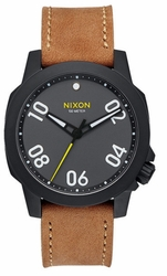 Nixon Ranger 40 Leather Watch<br>Black/Gunmetal/Natural