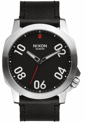 (Sale!!!) Nixon Ranger 45 Leather Watch<br>Black/Red