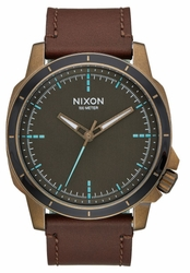 Nixon Ranger Ops Leather Watch<br>Brass/Brown