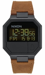 Nixon Re-Run Leather Watch<br>All Black/Brown