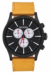 (Sale!!!) Nixon Sentry Chrono Leather Watch<br>All Black/Goldenrod