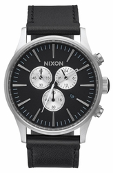 Nixon Sentry Chrono Leather Watch<br>Black