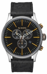 (Sale!!!) Nixon Sentry Chrono Leather Watch<br>Black/Brass
