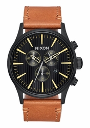 Nixon Sentry Chrono Leather Watch<br>Black/Stamped/Brown