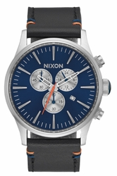 Nixon Sentry Chrono Leather Watch<br>Blue Sunray