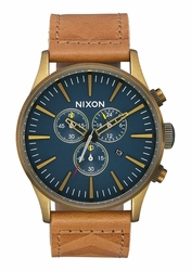 Nixon Sentry Chrono Leather Watch<br>Brass/Navy/Hickory