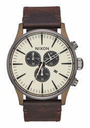 Nixon Sentry Chrono Leather Watch<br>Bronze/Gunmetal