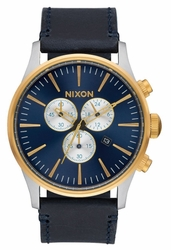 (Sale!!!) Nixon Sentry Chrono Leather Watch<br>Gold/Blue Sunray