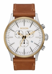 Nixon Sentry Chrono Leather Watch<br>Gold/Cream/Tan