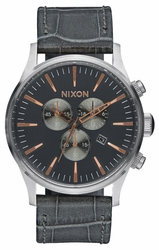 (Sale!!!) Nixon Sentry Chrono Leather Watch<br>Grey Gator