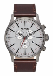 Nixon Sentry Chrono Leather Watch<br>Gunmetal/Silver/Dark Brown