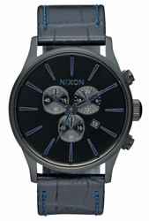 (Sale!!!) Nixon Sentry Chrono Leather Watch<br>Navy/Gator