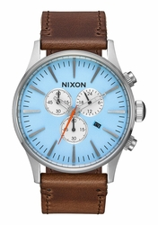 Nixon Sentry Chrono Leather Watch<br>Sky Blue/Taupe