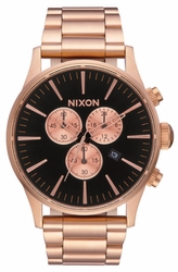 Nixon Sentry Chrono Watch<br>All Rose Gold/Black