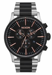 (Sale!!!) Nixon Sentry Chrono Watch<br>Black/Rose Gold