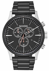 (Sale!!!) Nixon Sentry Chrono Watch<br>Black/Steel
