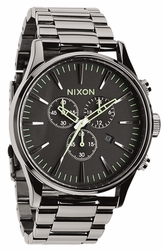 (Sale!!!) Nixon Sentry Chrono Watch<br>Polished Gunmetal/Lum