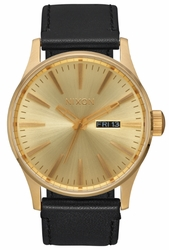 Nixon Sentry Leather Watch<br>All Gold/Black