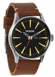 Nixon Sentry Leather Watch<br>Black/Brown