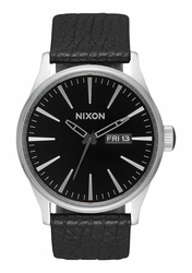 Nixon Sentry Leather Watch<br>Black/Gunmetal/Black