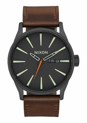 Nixon Sentry Leather Watch<br>Black/Lum/Taupe