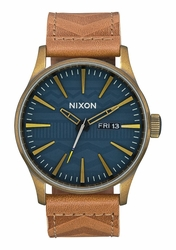 Nixon Sentry Leather Watch<br>Brass/Navy/Hickory