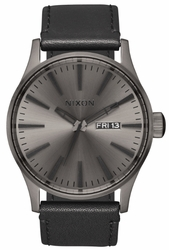 Nixon Sentry Leather Watch<br>Gunmetal/Black