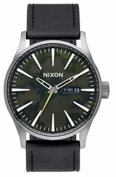 (Sale!!!) Nixon Sentry Leather Watch<br>Gunmetal/Green Oxyde