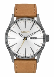 Nixon Sentry Leather Watch<br>Gunmetal/Silver/Tan