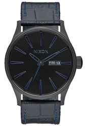 (Sale!!!) Nixon Sentry Leather Watch<br>Navy/Gator