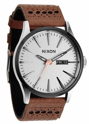 Nixon Sentry Leather Watch<br>Saddle/Silver