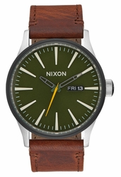 Nixon Sentry Leather Watch<br>Surplus/Brown
