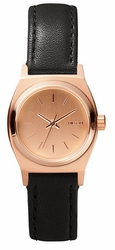 Nixon Small Time Teller Leather Watch<br>All Rose Gold/Black