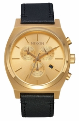 Nixon Time Teller Chrono Leather Watch<br>All Gold/Black